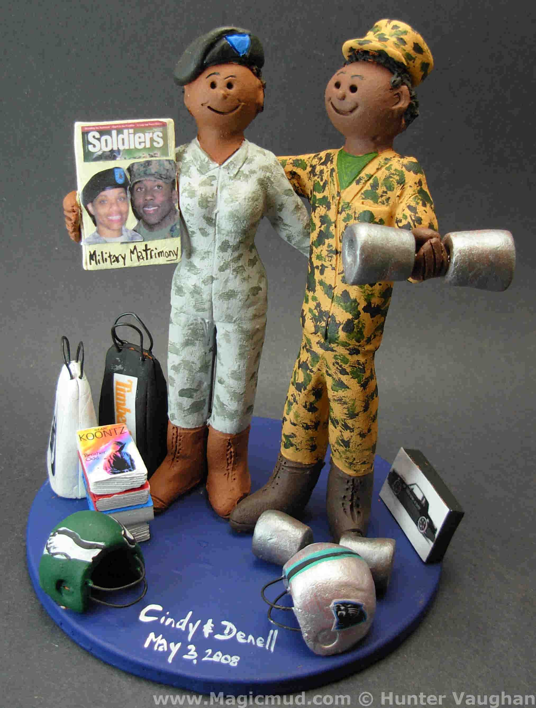 African American Military Wedding Cake Topper
