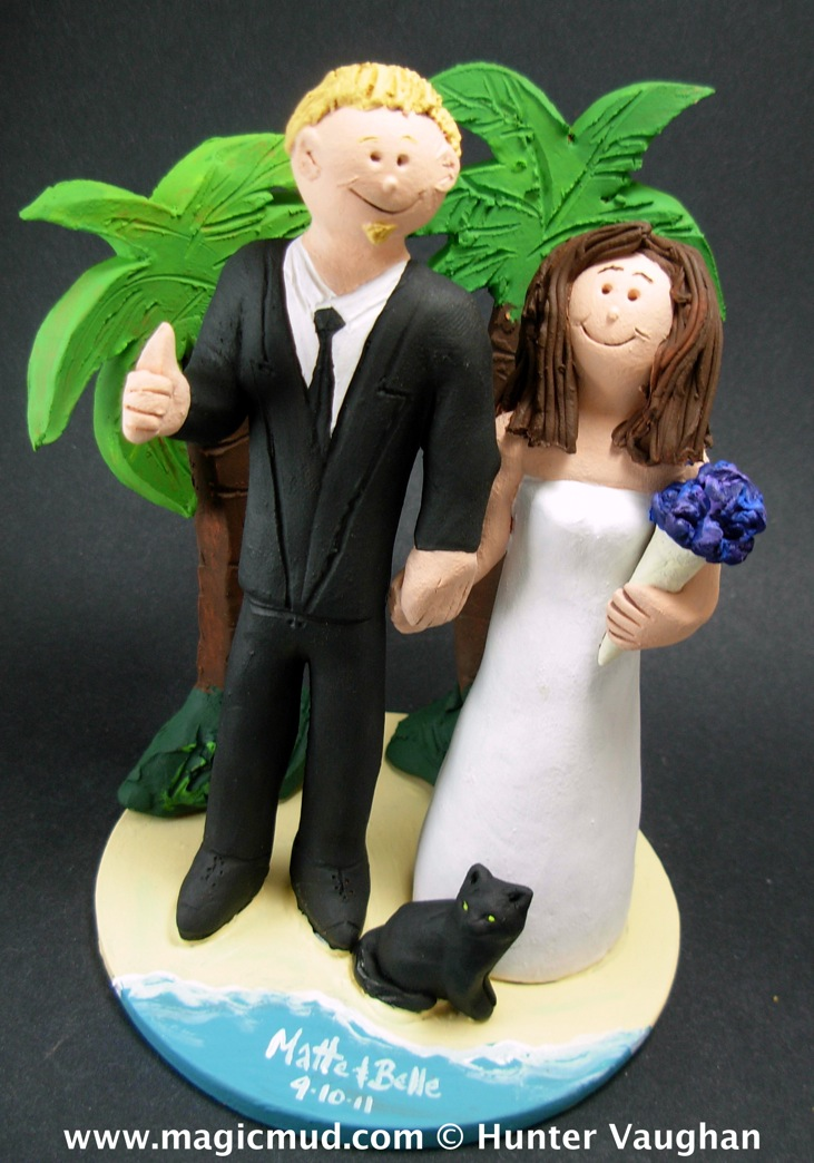 Beach with Palm Trees Wedding Cake Topper