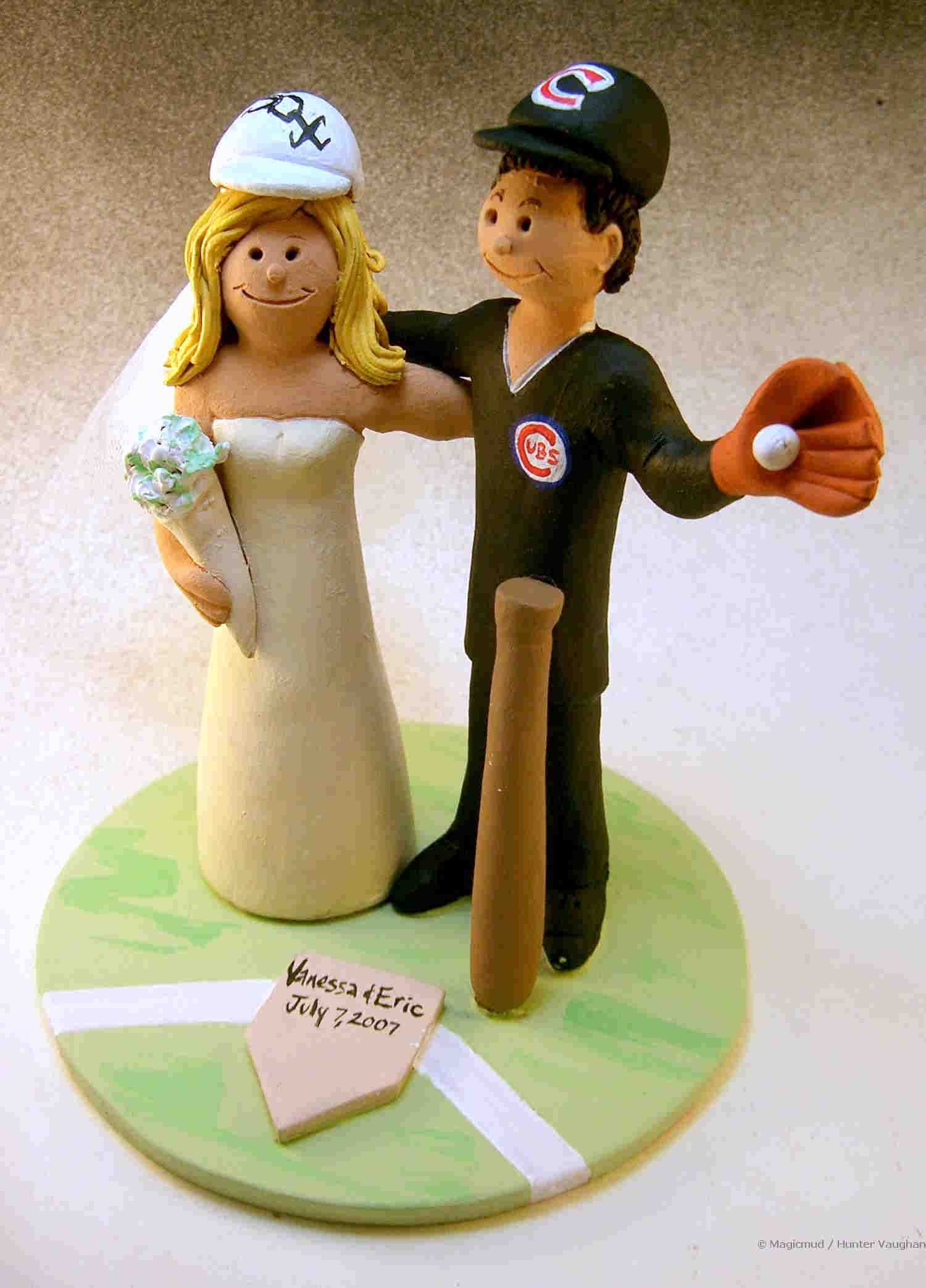 Chicago Cubs Baseball Wedding Cake Topper