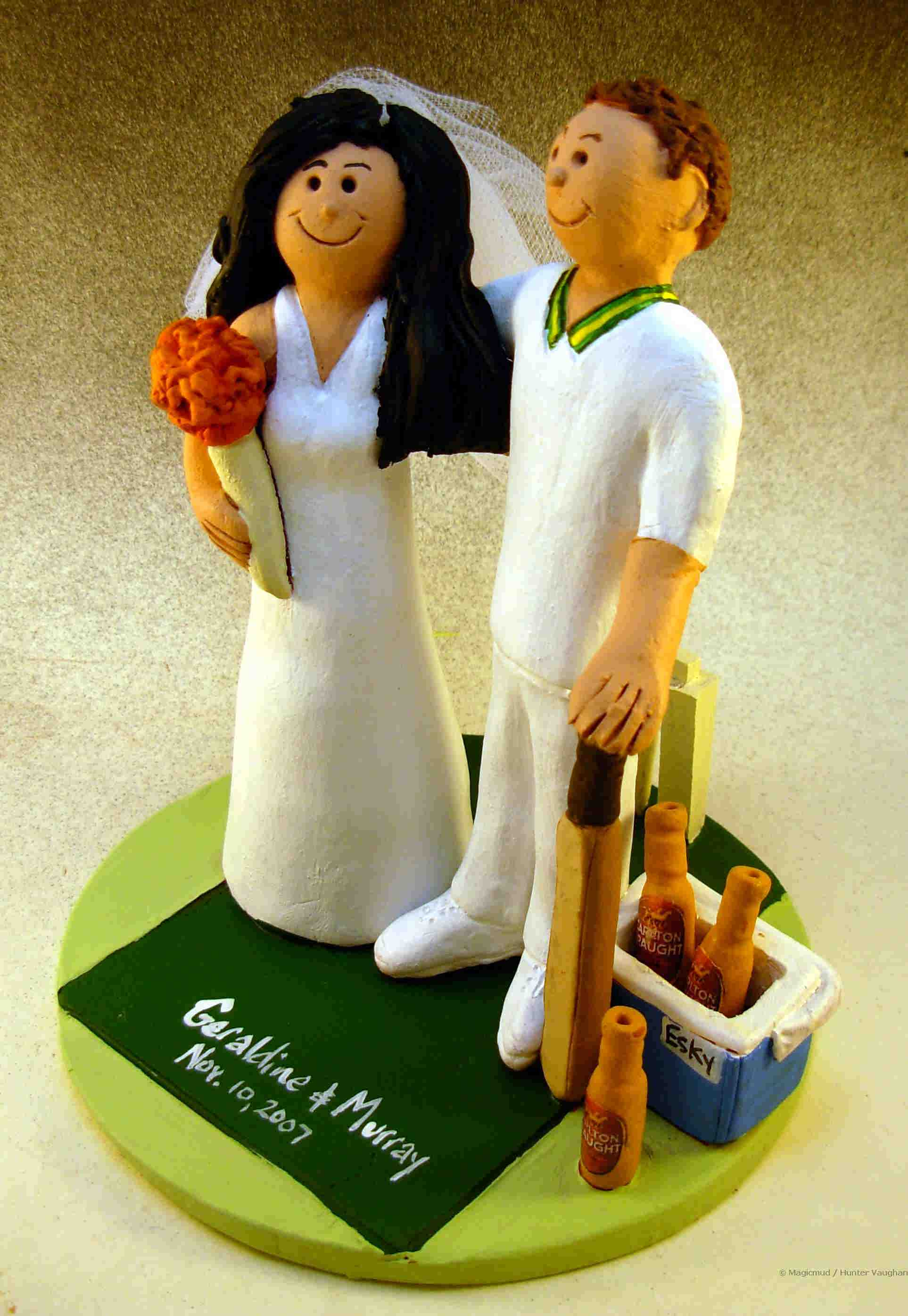 Cricket Player's Wedding Cake Topper