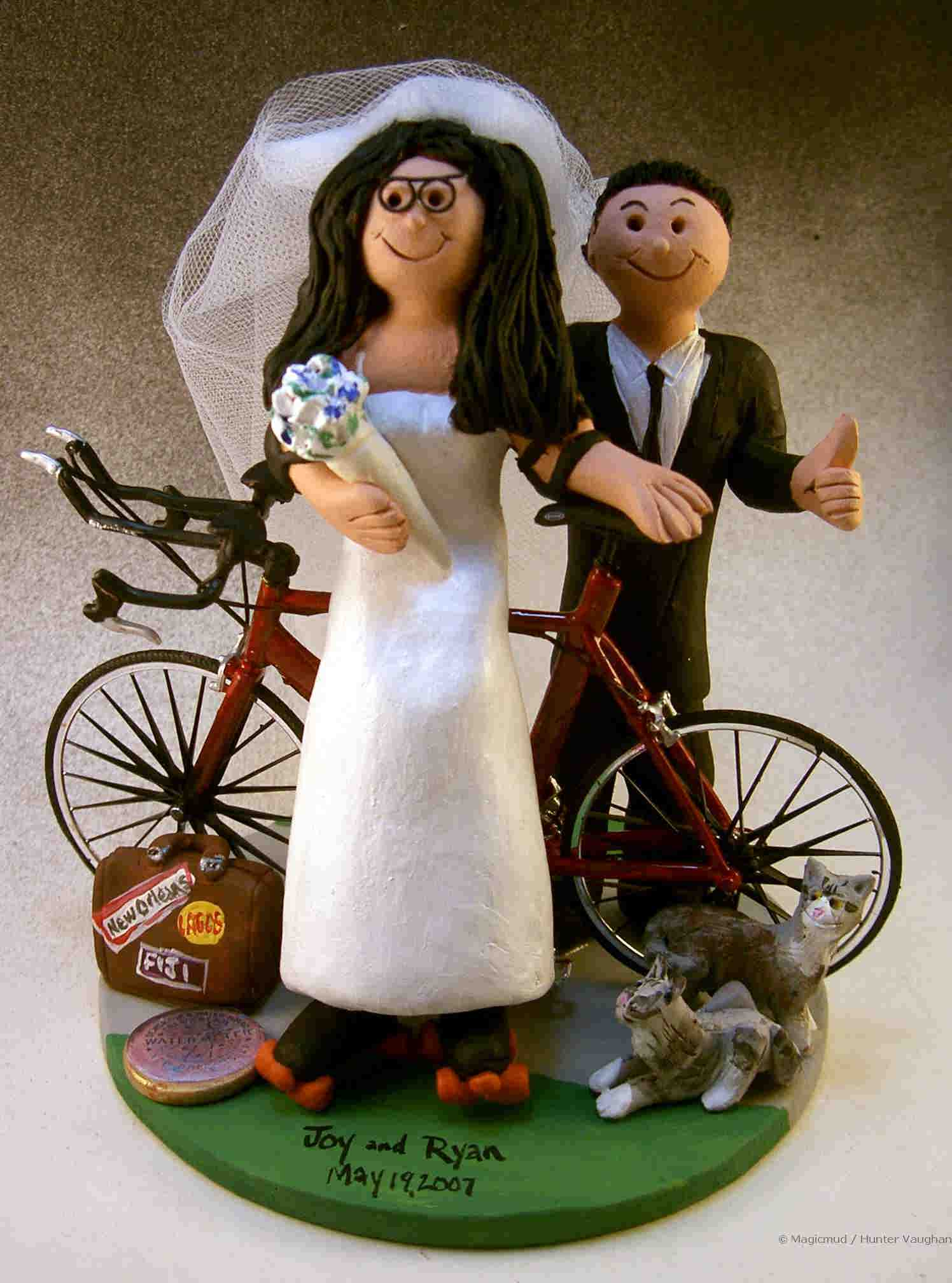 Cyclist's Wedding Cake Topper