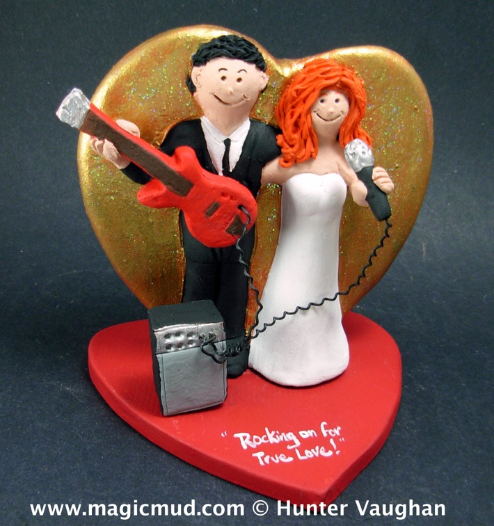 Guitar Player's Wedding Cake Topper