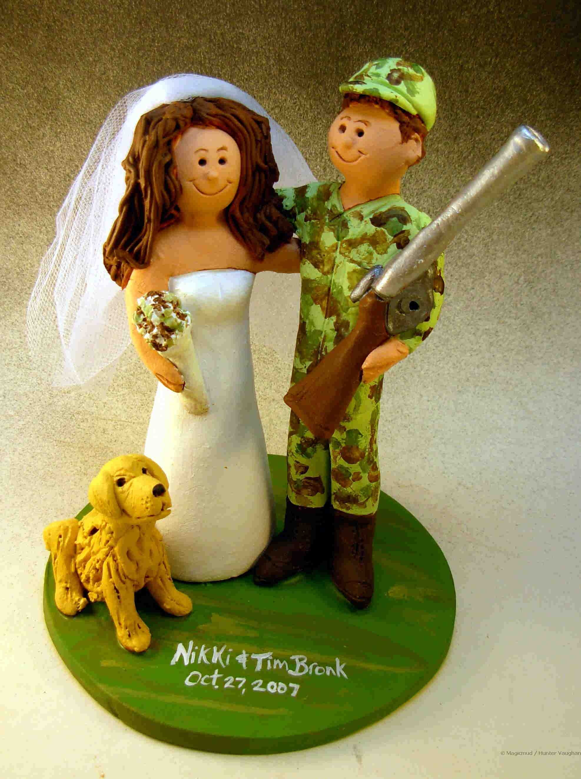 Hunter in Camouflage Wedding Cake Topper