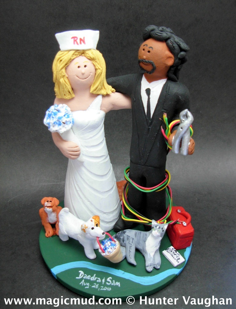 Interracial Electrician Wedding Cake Topper