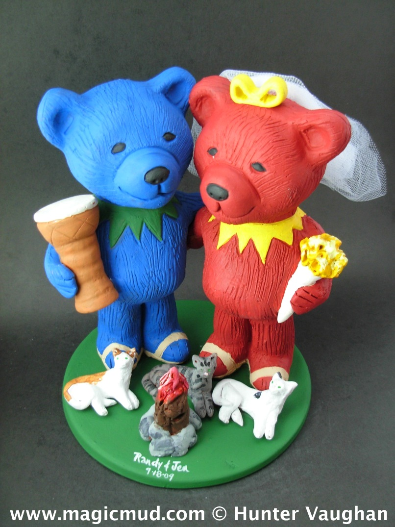 Jerry Bear with Djembe Drum Wedding Cake Topper