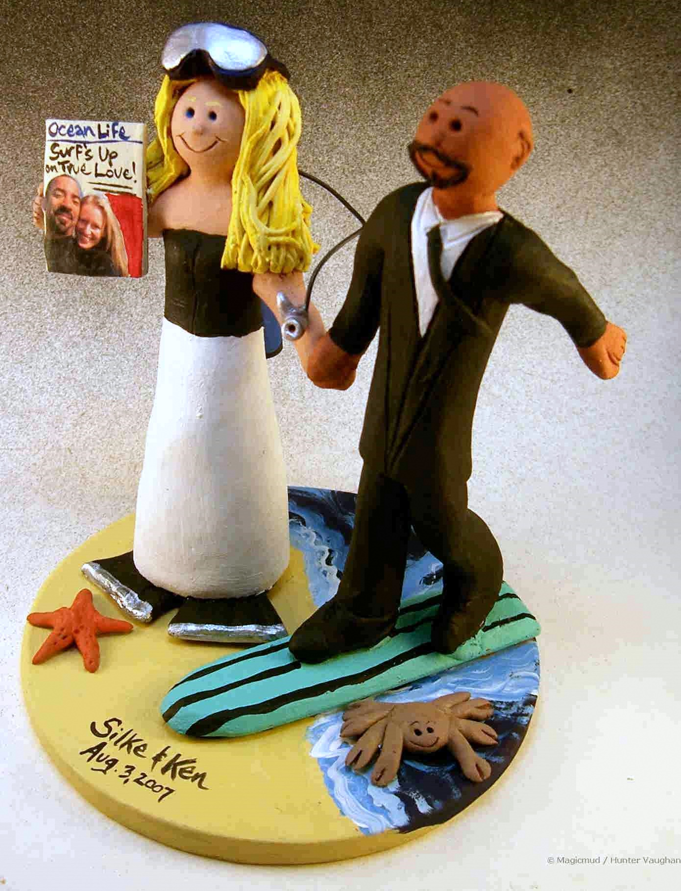 Scuba Diver weds Surfer Wedding Cake Topper