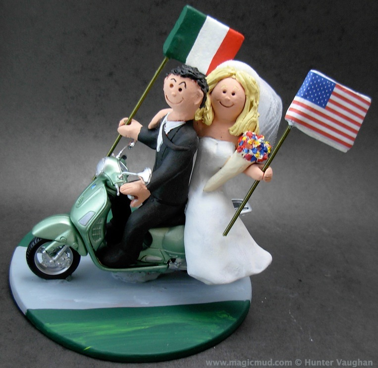 Vespa scooter riders wedding cake topper