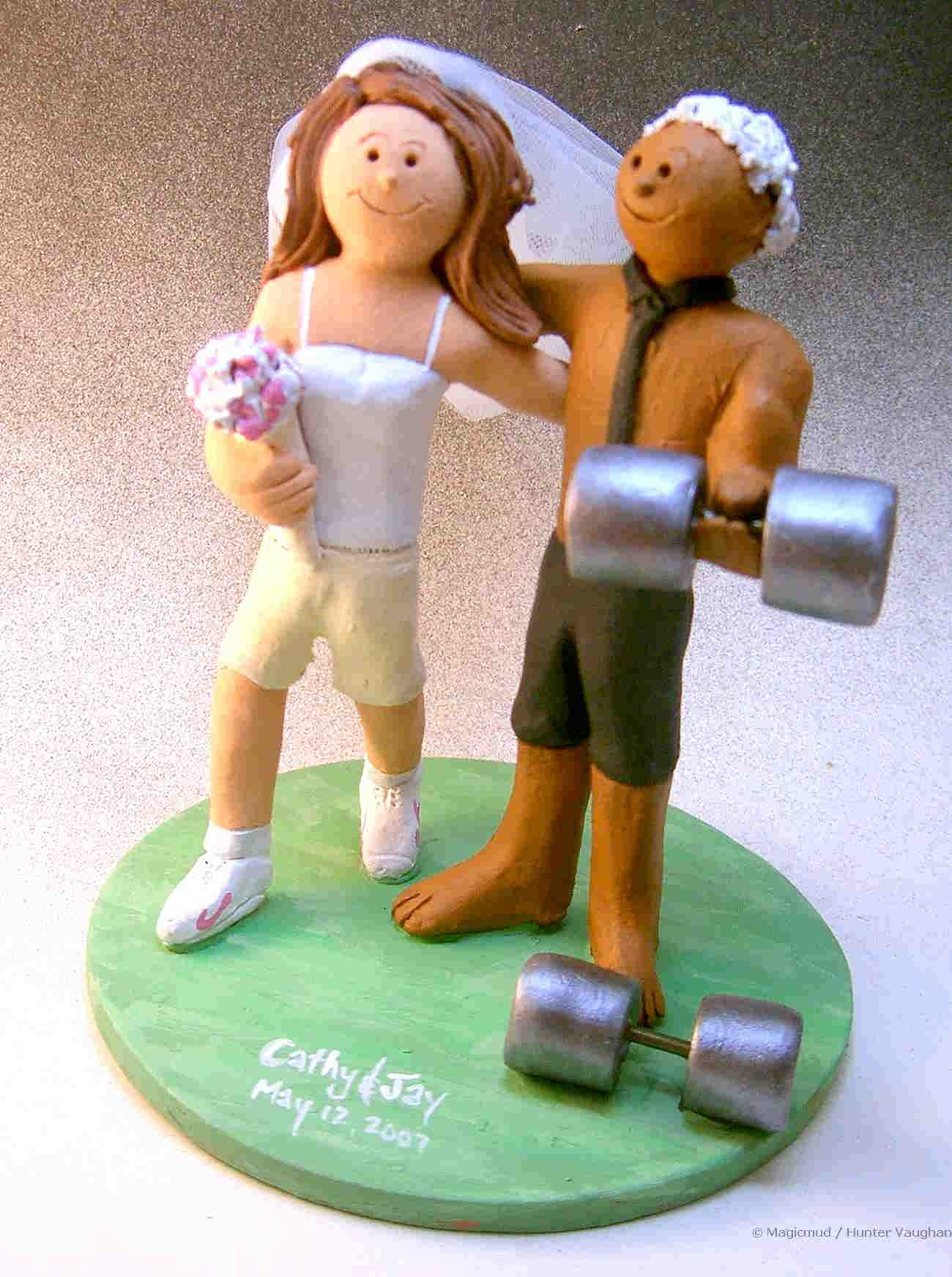 Weightlifters Wedding Cake Topper