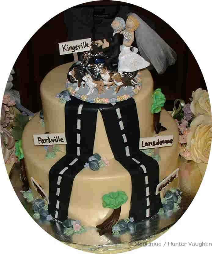 Motorcyclists Wedding Caketopper On A Made To Order Cakesweeeet Motorcycle