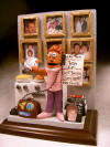 custom made figurine for Mom's 80th birthday, surrounded by family photos, by her stove, on the phone
